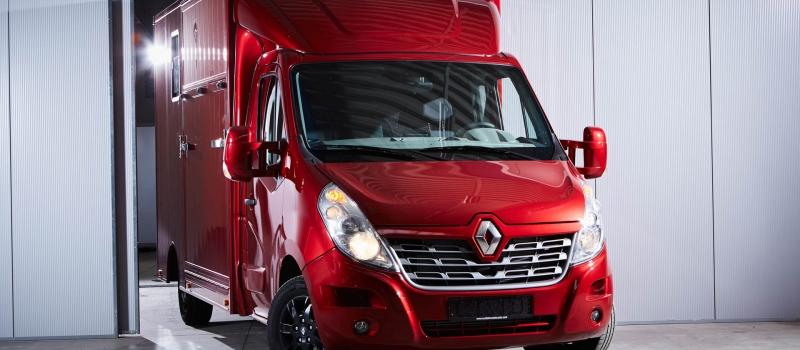 renault master sodiak paardenvrachtwagen voor rijbewijs B kleur rood